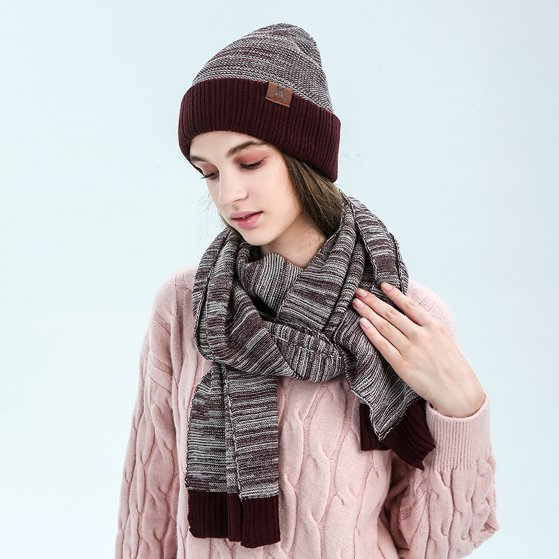 Winter Scarf And Hat Set For Women Classic Warm Hats Long Scarves Unisex  Kitted Hat Scarf Female Set Hot Sale