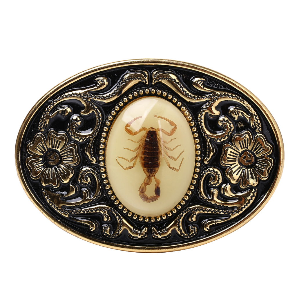 Scorpion Design Gold Tone Black Belt Buckle For Men Jeans Pants Accessories Luxurious Cowboy Buckle