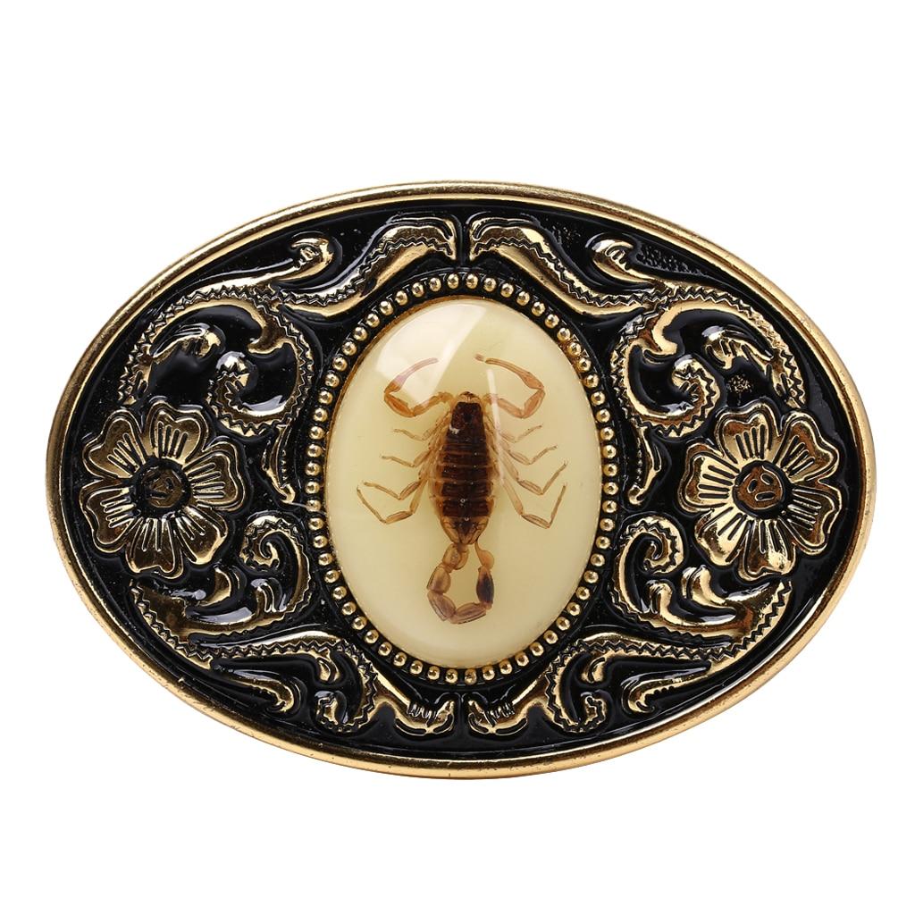Scorpion Design Gold Tone Black Belt Buckle For Men Jeans Pants Accessories Luxurious Cowboy Buckle