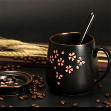 1Set Ceramic Mug(Mug+Lid+Spoon) Exquisite Sakura Mugs 380Ml Coffee Milk Mug Large Capacity Cup(China)