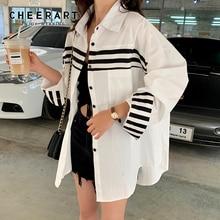 Cheerart Plus Size Shirt White Long Sleeve Blouse Women Fall 2019 High Low Tops And Blouses Korean Fashion Clothing Femme цены онлайн
