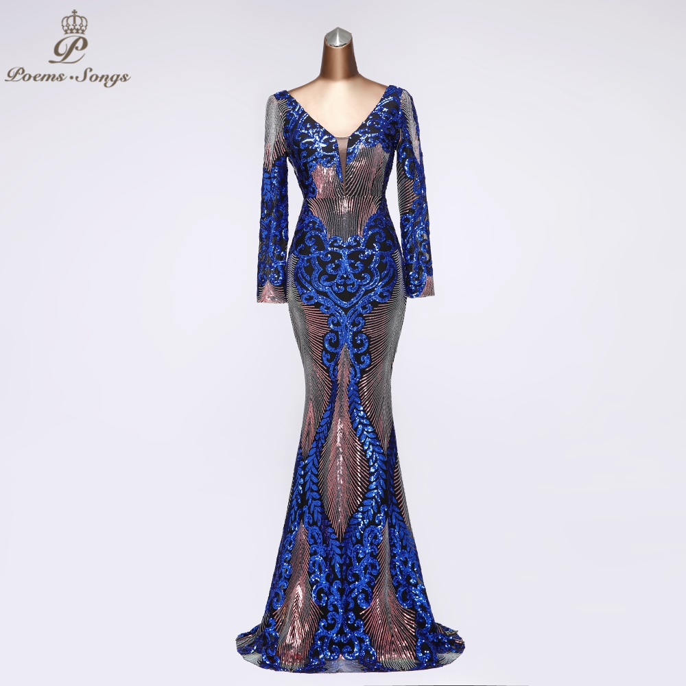 V  Neck Sexy Sequin Long Sleeve Evening Dress Party Dress Robe De Soiree Vestidos De Fiesta De Noche 2020 Prom Dress Women Dress