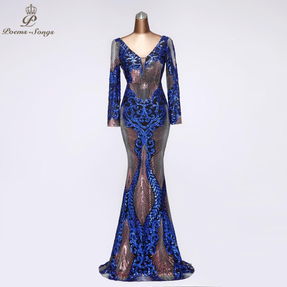 V  Neck Sexy Sequin Long Sleeve Evening Dress Party Dress Robe De Soiree Vestidos De Fiesta De Noche 2020 Prom Dress Women Dress