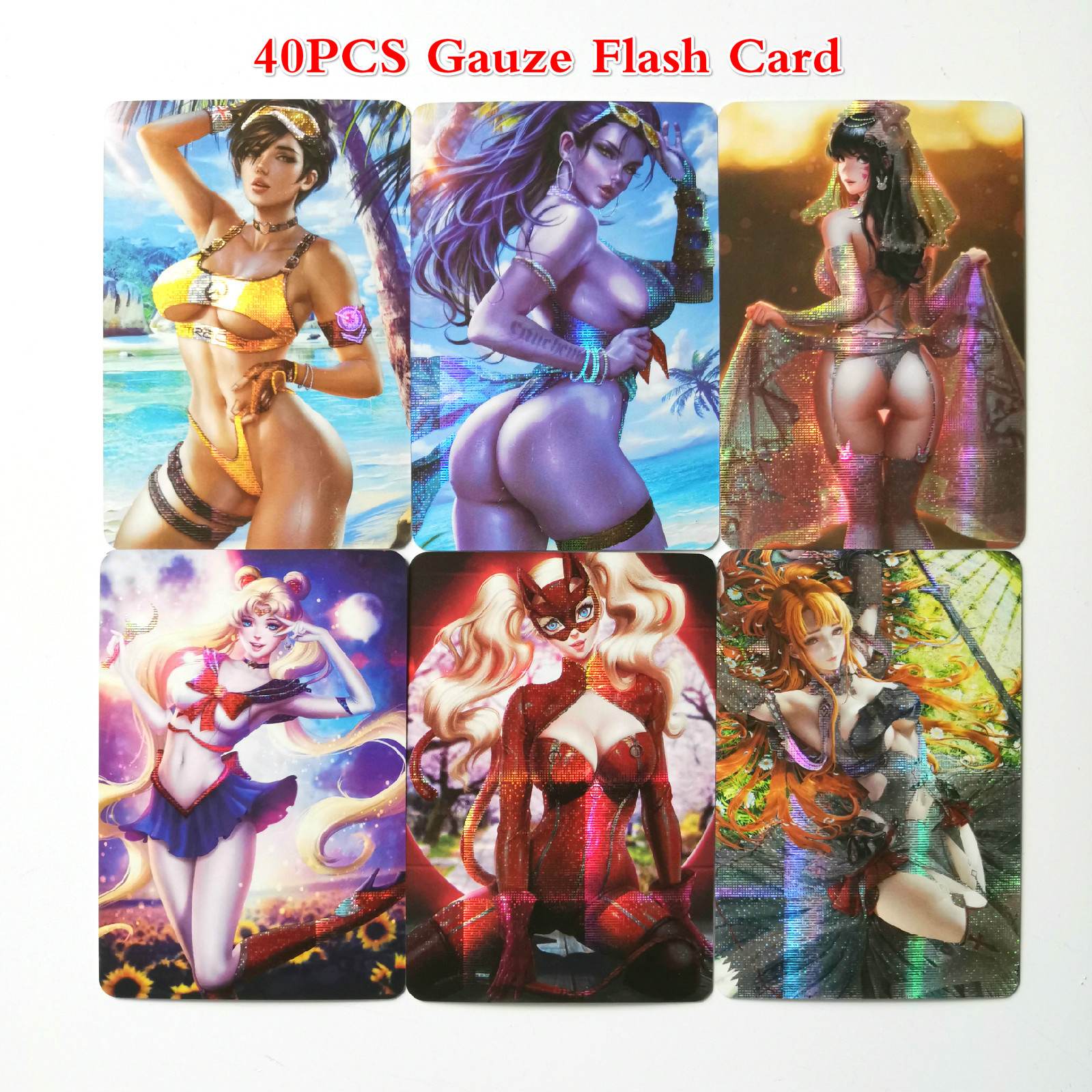 40pcs/set Sailor Moon Catwoman Captain Marvel Sexy Toys Hobbies Hobby Collectibles Game Collection Anime Cards