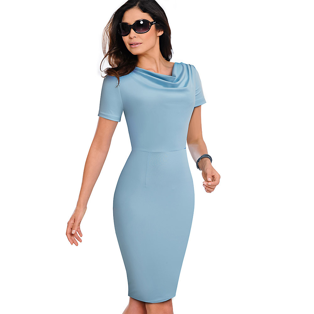 Nice-forever Women Vintage Wear to Work Elegant vestidos Business Party Bodycon Sheath Office Ruffle Female Dress B452 9