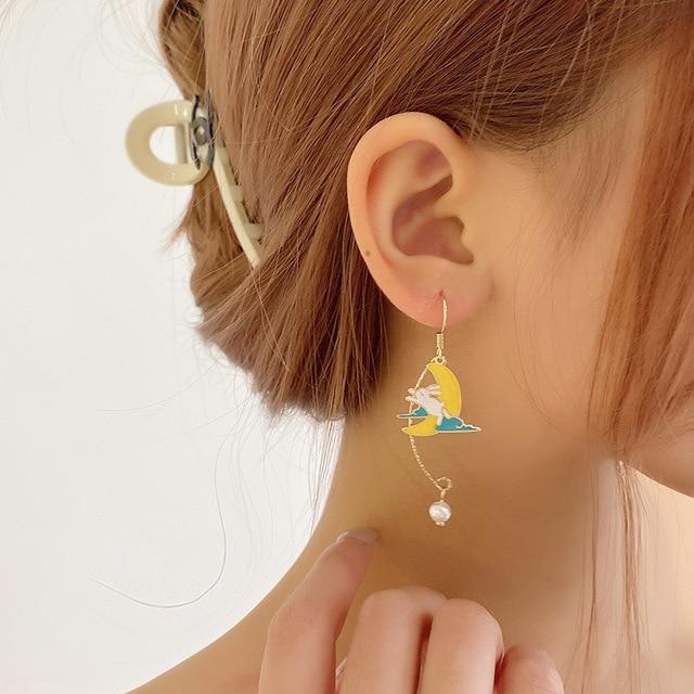 Korean Style Flower Cute Animal Dangle Earrings For Women Moon Stars Kitten Rabbit Balloon Asymmetric Earring Party Jewelry Gift 6