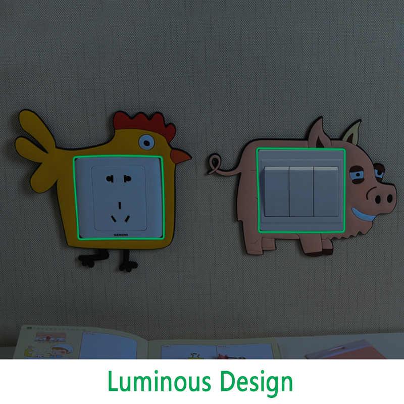 Pegatinas creativas lindas de la historieta del enchufe de la energía de la decoración del interruptor luminoso pegatinas de pared impermeables calcomanías de la pared