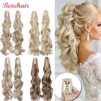 BENEHAIR Fake Hair Ponytail Long Wavy Claw On Clip In Extensions Synthetic Hairpiece For Women