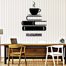 Reading and Afternoon Vinyl Wall Sticker Book Coffee Room Study Library Decoration Stickers Home Art Decal LW454