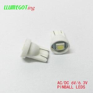 Image 2 - 100pcs 194 T10 #555 טרז בסיס 1SMD 5050 6.3V AC אין קוטביות שונים צבע זמין עבור Bally פינבול משחק מכונת מנורת נורות