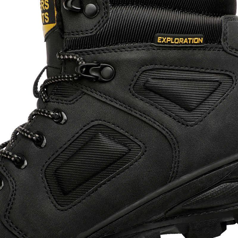 Ботильоны зимние сапоги высокого качества кожаные кроссовки Мужская Уличная походная обувь Брендовая зимняя теплая короткая плюшевая обувь