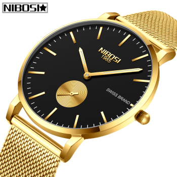 NIBOSI Mens Watches Relogio Masculino Top Brand Luxury Fashion Quartz Watch Men Casual Slim Mesh Steel Waterproof Sport Watch dom men watches top brand luxury quartz watch casual quartz watch black leather mesh strap ultra thin fashion clock male relojes