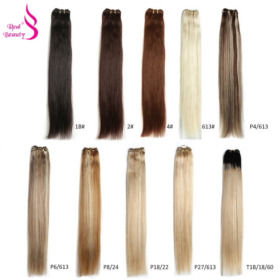 Blond Brown Ombre Color Straight Human Hair Weaves Bundle 18