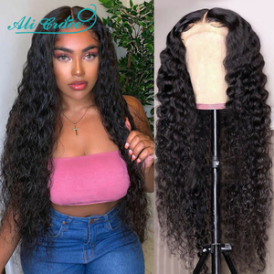 Ali Grace Wigs Brazilian Deep Wave Wig with Baby Hair 4X4 Deep Wave Closure Wig Pre-plucked Lace Closure Human Hair Wigs(China)