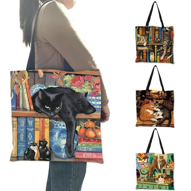 Oil Painting Cat Print Women Tote Bags Linen Reusable Shopping Bag Shoulder Bags for Women 2019  sac a main ladies handbags 1