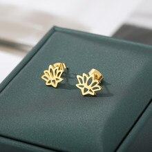 ICFTZWE – Mini boucles d'oreilles en forme d'arbre pour femmes et filles, bijoux en acier inoxydable, fleur de Lotus, cadeau