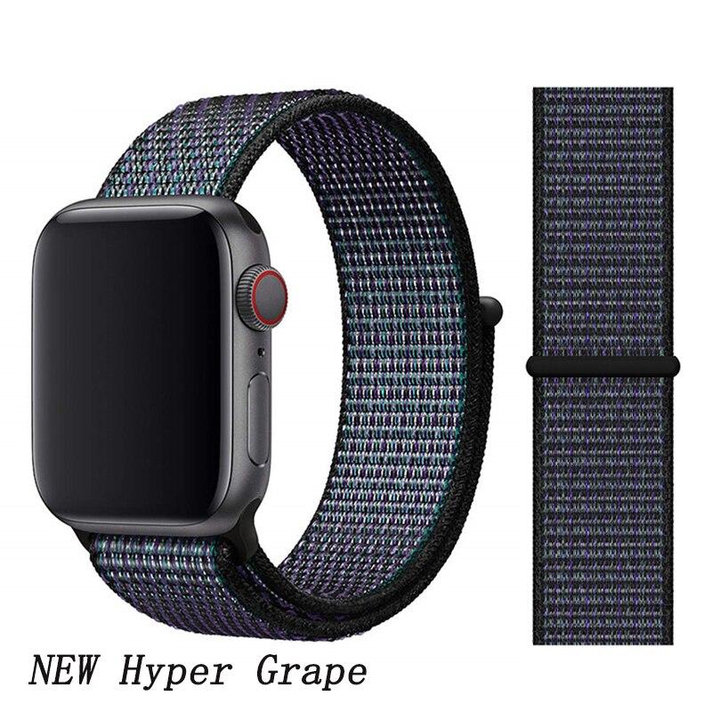 Спортивная петля ремешок apple watch band 42 мм 38 мм apple watch 4 3 band iwatch band 44 мм 40 мм correa pulseira 42 44 нейлоновый ремешок для часов - Цвет ремешка: New Hyper Grape 7