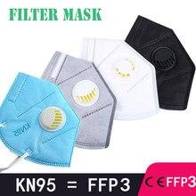 Fpp3 protecteur, ffp3 pour le visage bouche masque anti-poussière kn95 visage lavable filtre réutilisable avec masques de valve ffpp3 respirateur pm2.5