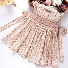 Letnie sukienki smocked dla dziewczynek sukienka w kwiaty ruffles biskup ręcznie haft ślub księżniczki butiki odzież dziecięca
