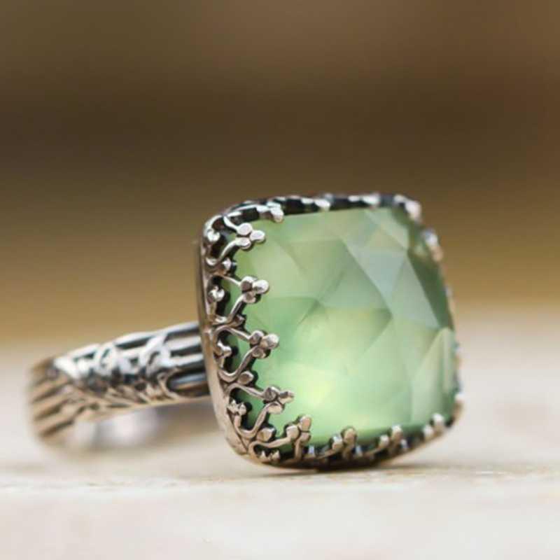Винтажное мятно-зеленое кольцо из лунного камня простое зеленое кольцо с фианитом для женщин модные ретро женские обручальные кольца ювелирные изделия