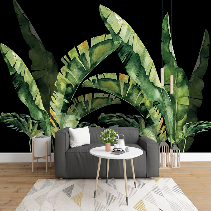 Custom 3D Photo Wallpaper Plant Green Leaves Black Decorative Background Wall Painting Living Room Restaurant Bedroom Wall Mural