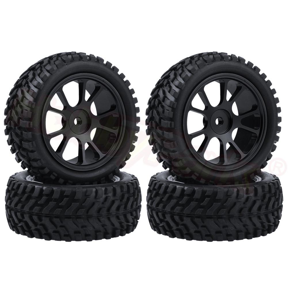 4pcs 75x28mm Tires & Aluminum Wheels 7mm Hubs For WLtoys A959 A949 A969 A979 A959B A969B A979B 1/18 RC Car Spare Parts