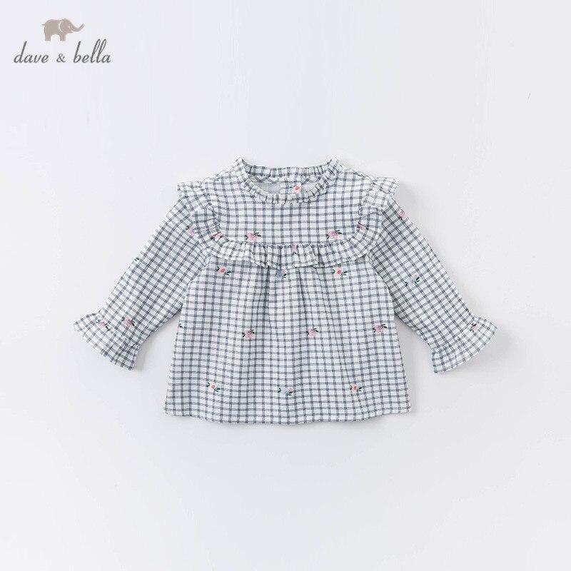 Dave bella/DB14828 клетчатые рубашки с рюшами и цветочным рисунком для маленьких девочек, топы для малышей, детская одежда высокого качества на осень|Блузки и рубашки| | АлиЭкспресс