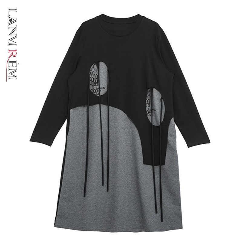 LANMREM יכול ספינה 2020 אביב עיצוב שמלות לנשים סביב צוואר בסוודרים טלאי שמלת אישיות גדול גודל Longuette YH867
