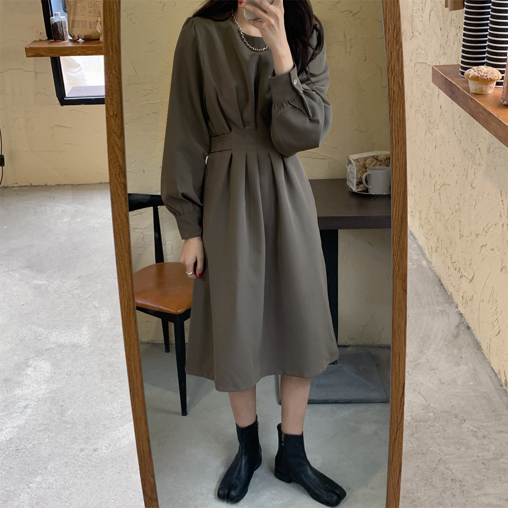 Hf46620ce27e14594b0c05f5654034831j - Autumn Korean O-Neck Long Sleeves Dark Solid Midi Dress
