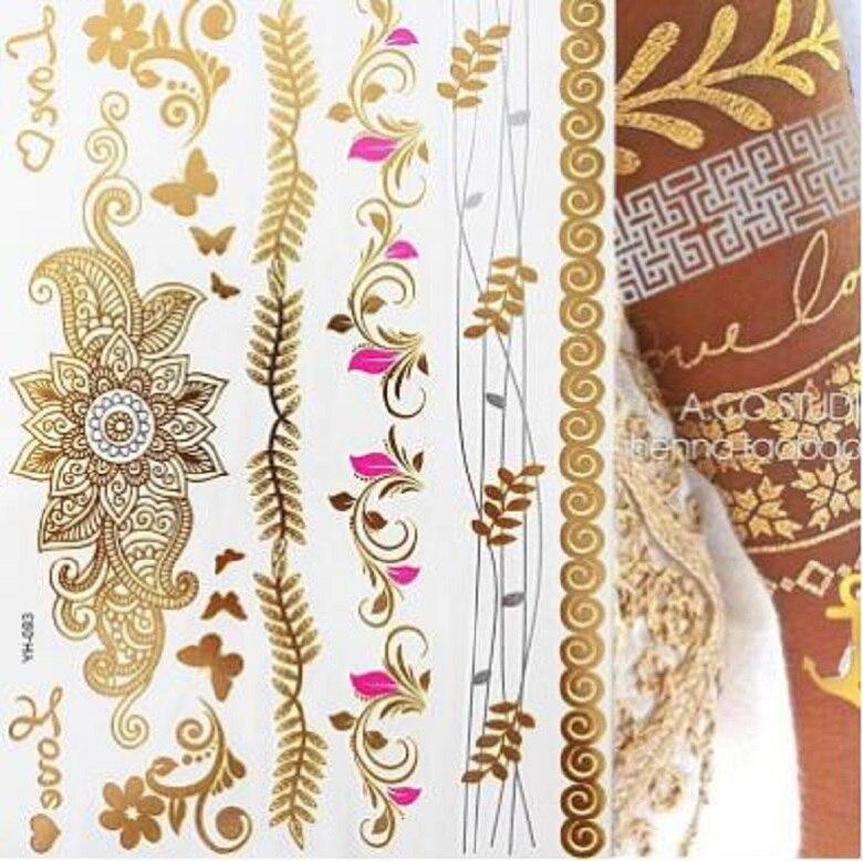 Новая Металлическая водостойкая временная татуировка Flash, золотые и серебряные татуировки, женские татуировки с цветком хны, дизайнерские ...