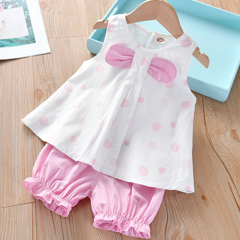 Humor Bear Girls Clothing Set 2020 Korean Summer New Ice Cream Bow Top T-shirt+Pants Kids Suit Toddler Baby Children's Clothes 17