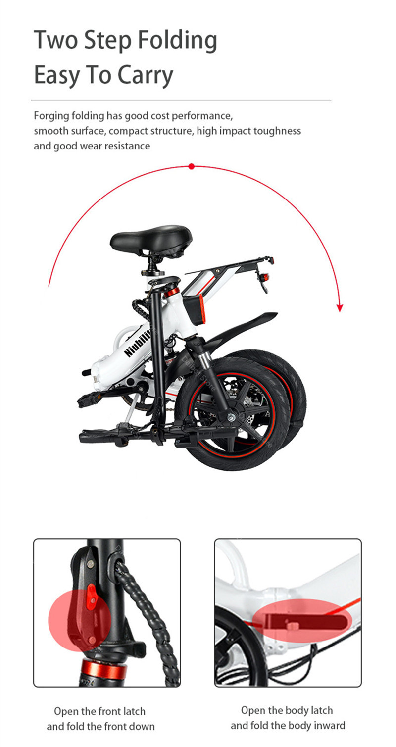 EU Stock Folding Electric bike 2 Wheels Electric Bicycles 14 Inch 400W 48V 15Ah Adult Electric Bicycle With Double Brake (15)
