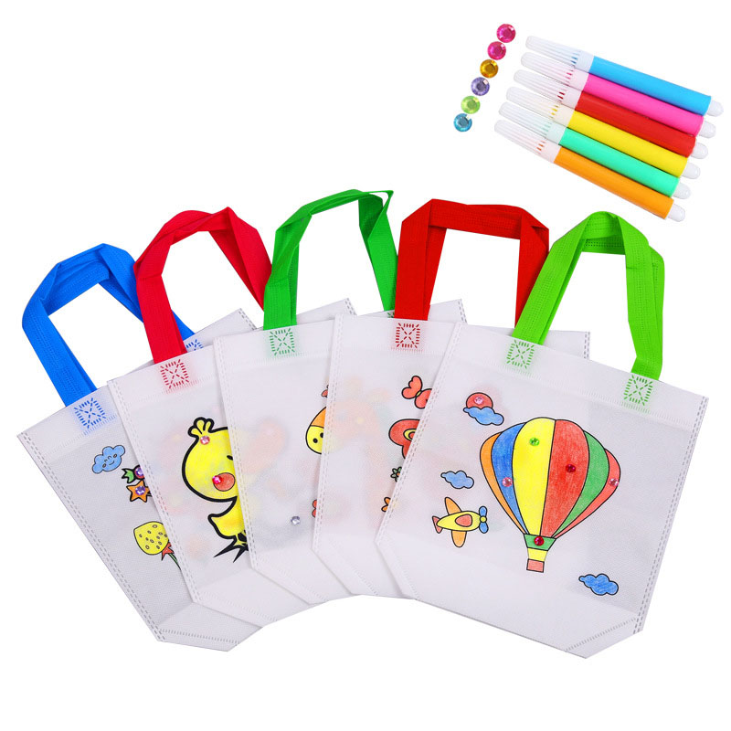 1Pcs/5Pcs Children DIY Handmade Graffiti Painted Bags Fill-color Hand Painted Material Non-woven Fabric Bag With Watercolor Pen