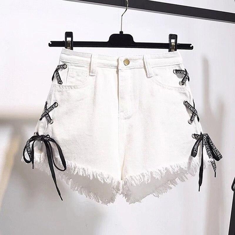 GAOKE Sexy Summer Women Denim Shorts 2020 New Black High Waist Ripped Short Jeans Femmen Side Lace Up Bandage Shorts New