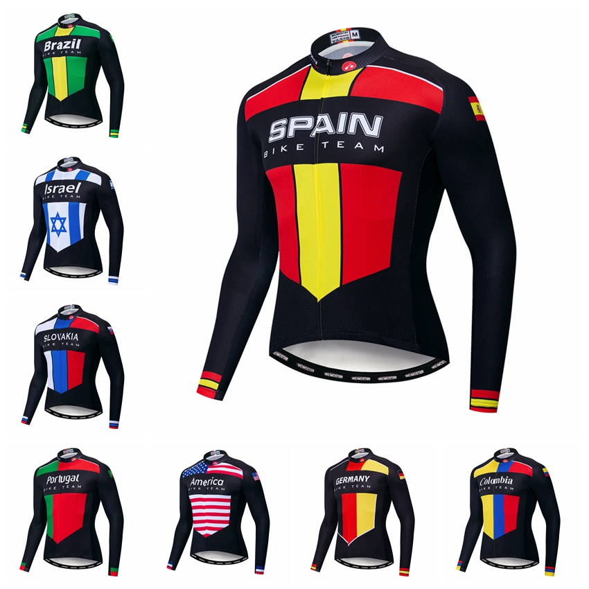 2019 Weimostar Cycling Jersey Men Bike Jerseys Long Sleeve Road MTB Bicycle Clothing Maillot Racing Tops Shirts Spain Brazil Red