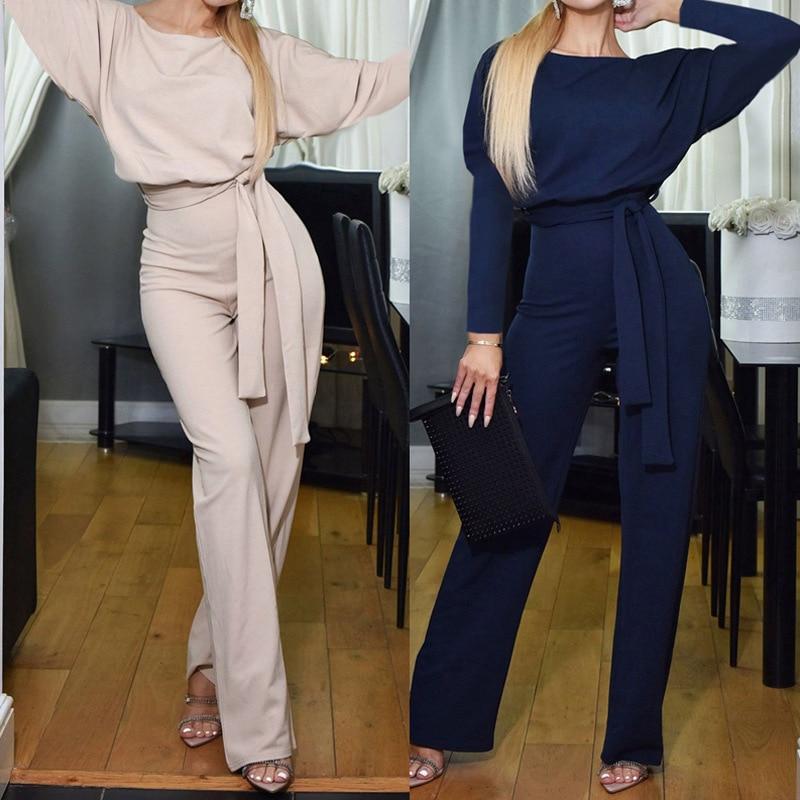 Long Sleeve Jumpsuit Women Elegant Lace Up Fashion Autumn Winter Jumpsuit Romper Office Loose Bodysuit Ladies Overalls Black