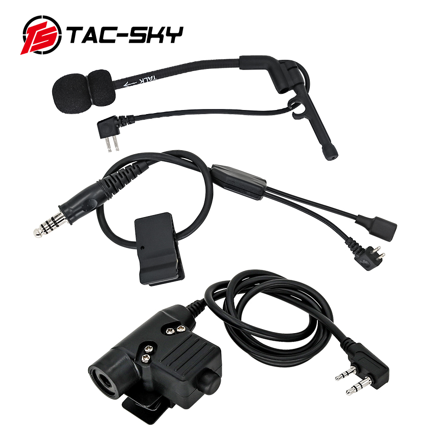 TAC-Sky U94 PTT Adapter Tactical Headset Accessories with Adjustable Wire for Mobile Phone