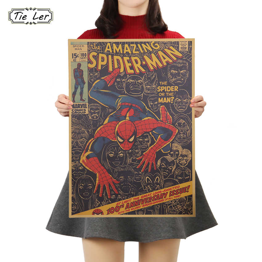 TIE LER papel Kraft clásico cartel de Marvel Series Spider Man Comics Poster niños dormitorio estudio adhesivo decorativo de la pared