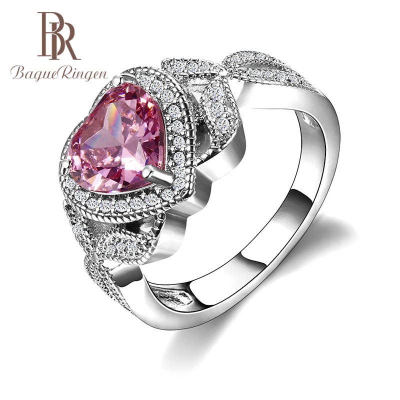 Bague Ringen Pink Heart Shaped Ring For Women Silver 925 Fine Jewelry For Wedding Gemstones Trendy Female Gift Size6,7,8,9,10,11