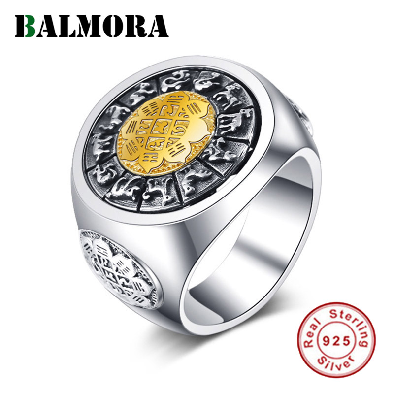 BALMORA 925 argent Sterling tourné douze zodiaque anneaux ouverts pour les femmes hommes Vintage Thai argent bijoux de mode Anillos