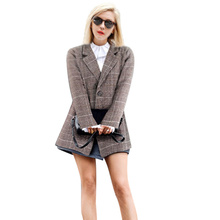 New Women Blazer Female 2019 Autumn Suit Plaid Coat Long Sleeve Clothes Plus Size Feminino Office Work