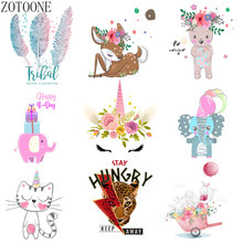 ZOTOONE Cute cat unicorn letters butterfly patch heat transfer vinyl DIY clothes decoration stickers hot O