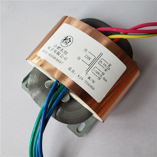 Transformateur personnalisé 250V 0.06A 6.3V 3A   Transformateur R Core R25, 220V 30VA avec bouclier en cuivre pour pré-amplificateur, alimentation
