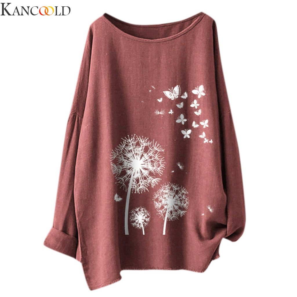 KANCOOLD The Fashion Women's Casual Print Butterfly Flower Long Sleeve T-Shirt Top Hot Sale Female Autumn Winter Loose Size