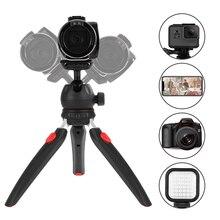 Andoer Mini trípode de mesa para cámara de teléfono, cabezal de Bola extraíble para DSLR/cámaras sin espejo DV, luz LED para vídeo, Smartphone