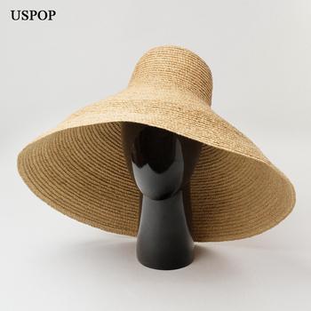 USPOP 2020 kobiety kapelusze słomkowe super duże rondo kapelusze przeciwsłoneczne stożkowe rafia kapelusze plażowe damskie kapelusze letnie tanie i dobre opinie Dla dorosłych WOMEN Sun kapelusze SO-7429 Na co dzień Stałe