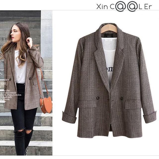 Spring Autumn Blazer Women  New Plaid Korean Jackets Long Sleeve Notched Vintage Casual Fashion Office Coats 1