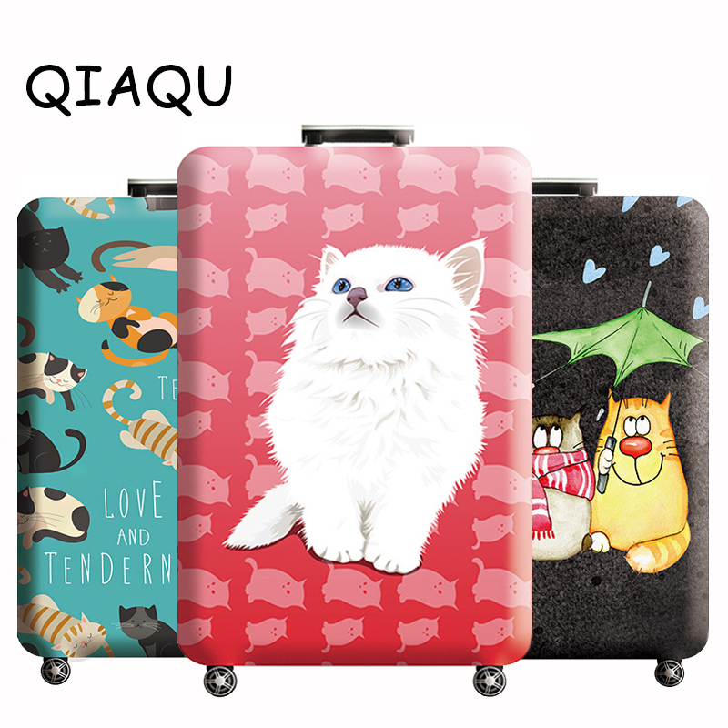 QIAQU New Animals Travel Luggage Protective Cover Apply 18-32 Inch Cases Accessories Cat/dog Pattern Cover Suitcase Dust Cover