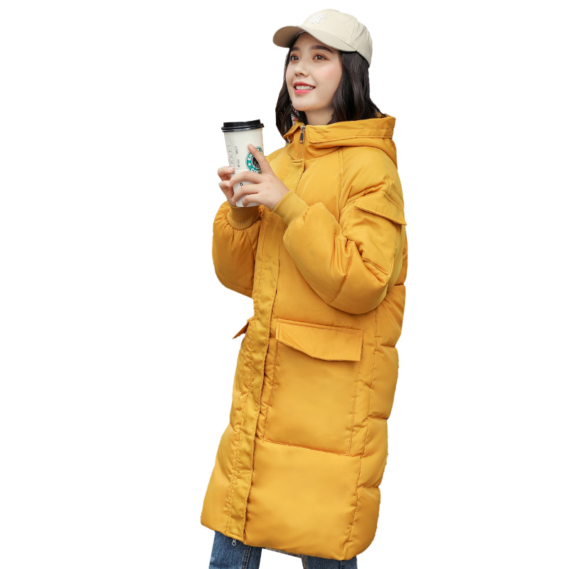 Chic Long Hooded Winter Down Coat Women Oversize Jacket Thick Warm Cotton Padded Wadded Parkas Big Pocket Windbreaker Sleeves