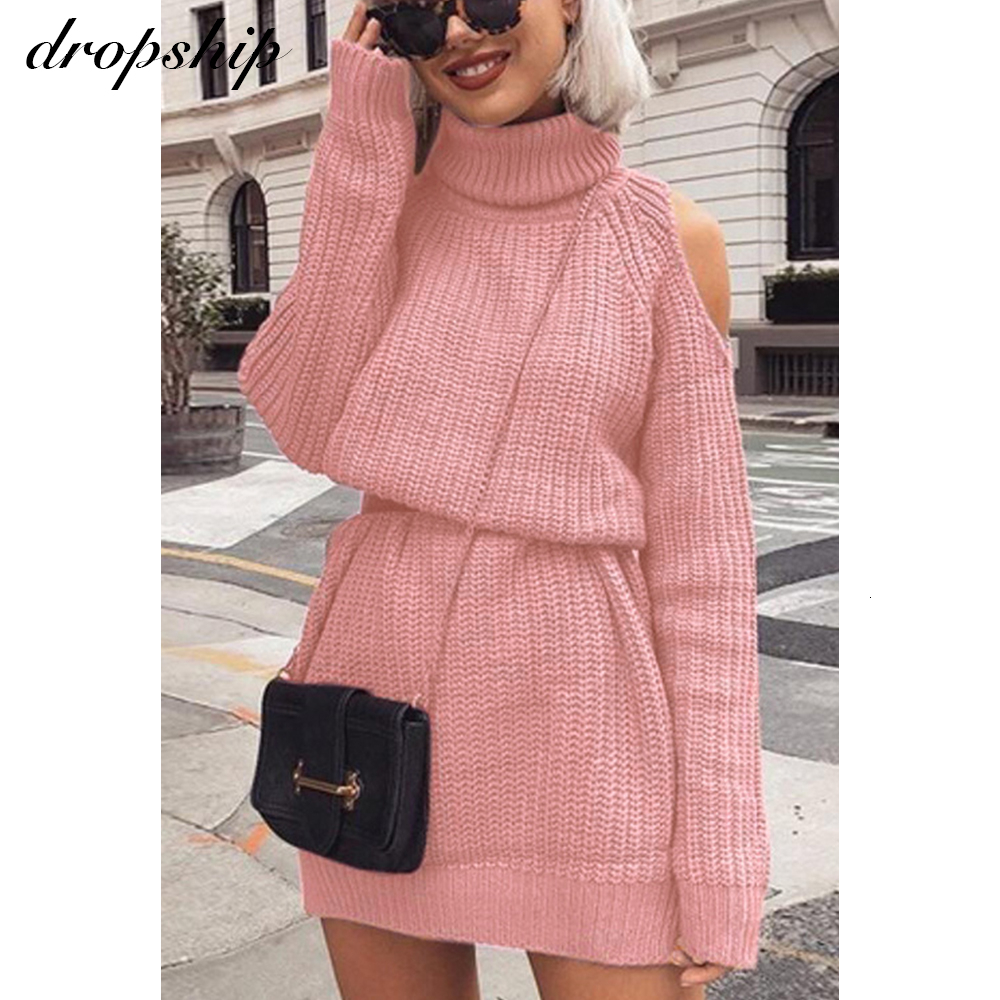 Autumn Winter Turtleneck Cold Shoulder Knitted Sweater Dress Women Solid Slim Plus Size Thick Long Pullovers Knitting Jumper